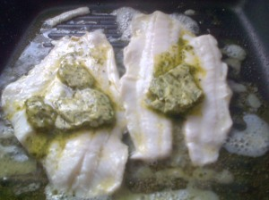 Lemon Sole and Herb butter in the pan